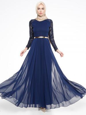 Dantelli Lacivert Abiye Elbise