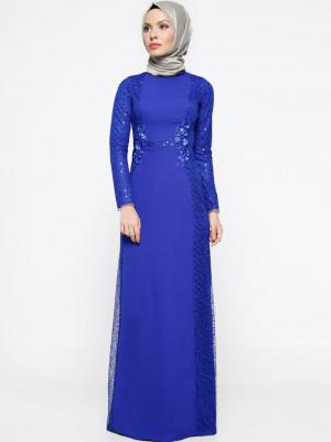 Dantel Detaylı Saks Abiye Elbise